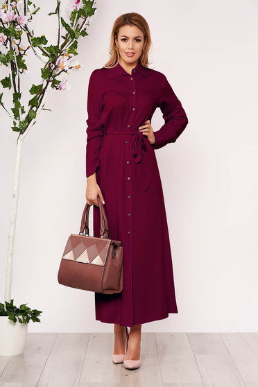 Raspberry dress casual long straight long sleeved with buttons
