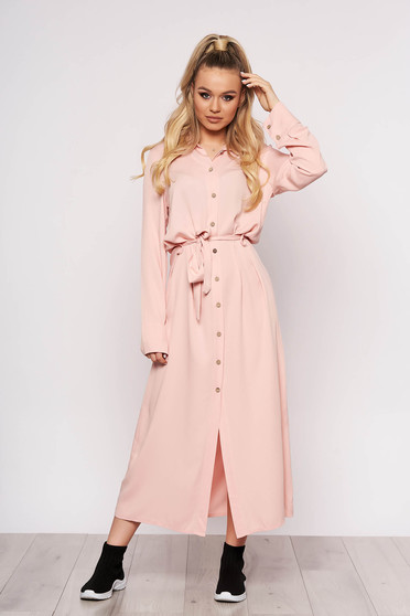 Lightpink dress casual long straight long sleeved with buttons
