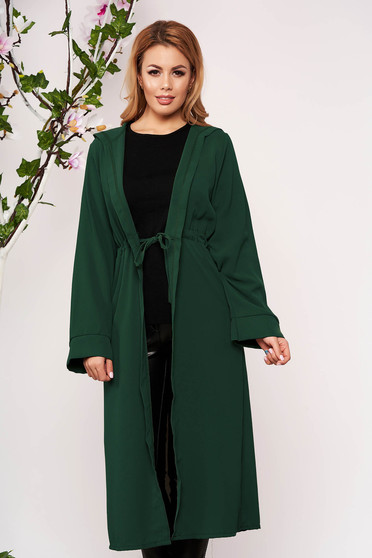 Dirty green cardigan elegant with undetachable hood long sleeved airy fabric