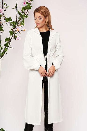 Ivory cardigan elegant with undetachable hood long sleeved airy fabric