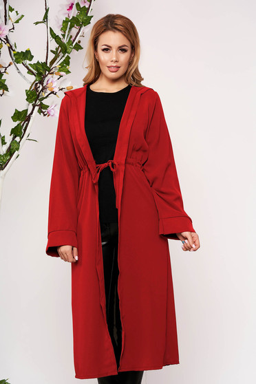 Red cardigan elegant with undetachable hood long sleeved airy fabric