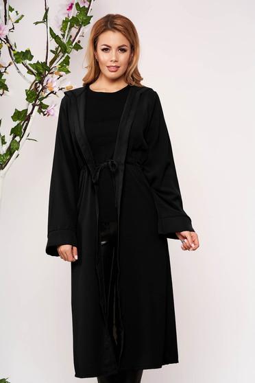 Black cardigan elegant with undetachable hood long sleeved airy fabric
