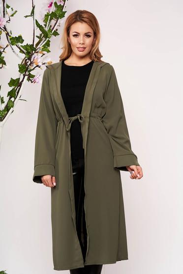Khaki cardigan elegant with undetachable hood long sleeved airy fabric