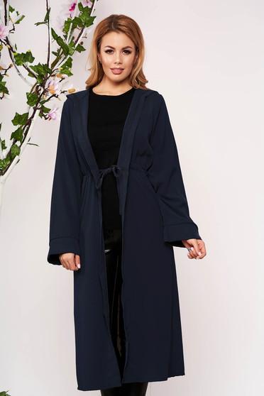 Darkblue cardigan elegant with undetachable hood long sleeved airy fabric