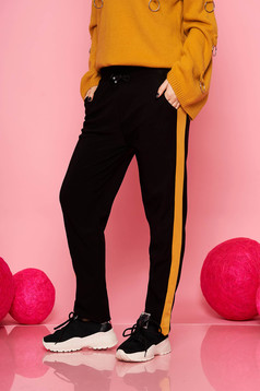 Mustard trousers casual with pockets with elastic waist is fastened around the waist with a ribbon straight