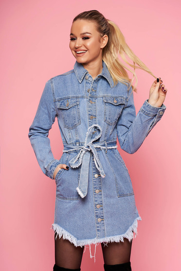 Blue dress casual daily short cut denim detachable cord with ruptures long sleeved