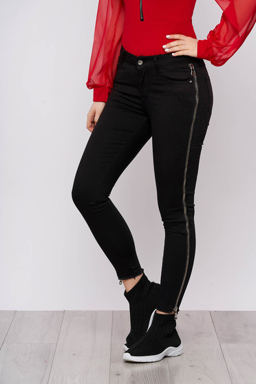 Black jeans casual denim with medium waist button and zipper fastening