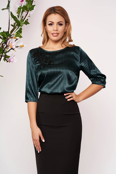 StarShinerS green women`s blouse elegant short cut flared from satin with stripes