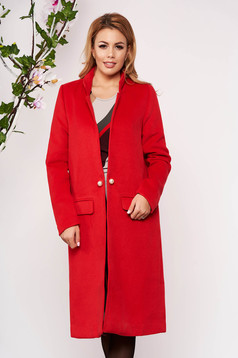 Red trenchcoat elegant wool long straight with faux pockets with inside lining