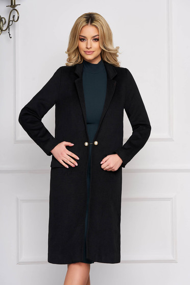 Black trenchcoat elegant wool long straight with faux pockets with inside lining