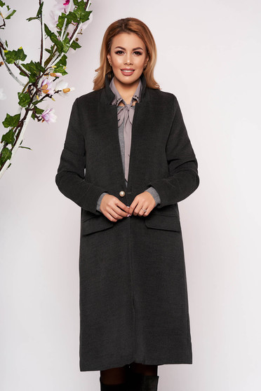 Grey trenchcoat elegant wool long straight with faux pockets with inside lining