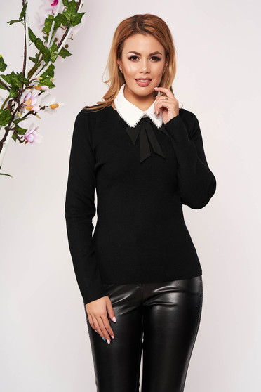 Black women`s blouse knitted arched cut detachable collar short cut long sleeved neckline elegant