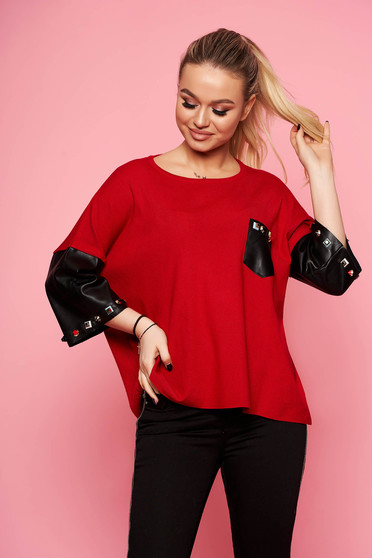 Red women`s blouse elegant short cut knitted with easy cut with 3/4 sleeves aims from ecological leather