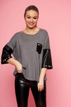 Grey women`s blouse elegant short cut knitted with easy cut with 3/4 sleeves aims from ecological leather