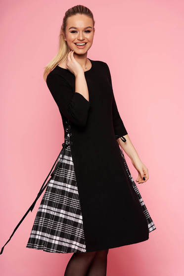 Black dress casual daily midi cloche without clothing knitted fabric with 3/4 sleeves