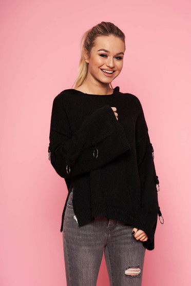 Black sweater casual knitted with undetachable hood with metal accessories short cut flared