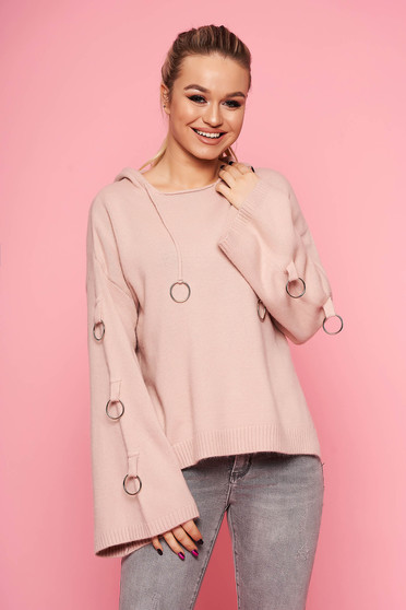 Lightpink sweater casual knitted with undetachable hood with metal accessories short cut flared