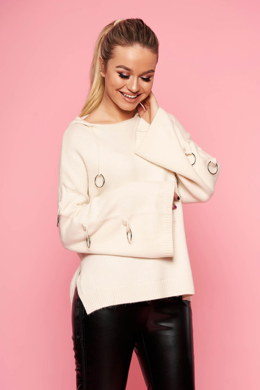 White sweater casual knitted with undetachable hood with metal accessories short cut flared