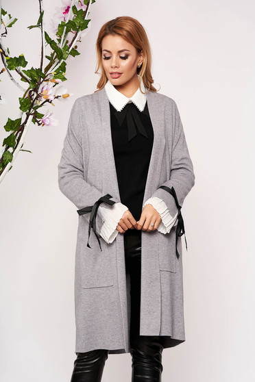 Grey cardigan elegant long knitted with bow accessories with front pockets