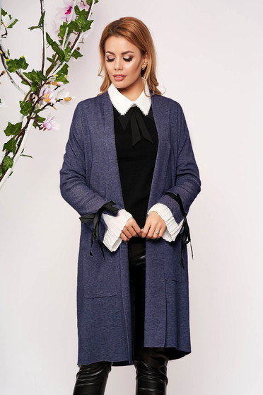 Blue cardigan elegant long knitted with bow accessories without clothing with front pockets