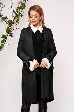 Black cardigan elegant long knitted with bow accessories with front pockets