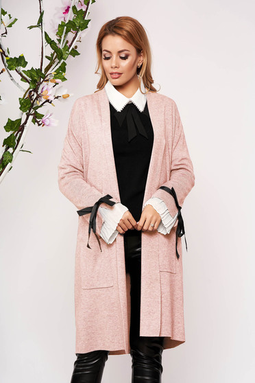 Lightpink cardigan elegant long knitted with bow accessories without clothing with front pockets