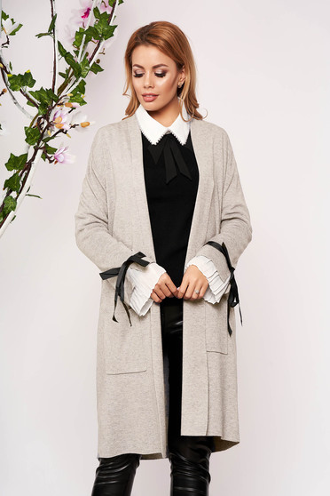 Cream cardigan elegant long knitted with bow accessories without clothing with front pockets