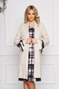 Cream cardigan elegant long knitted with bow accessories with front pockets