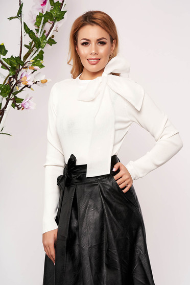 White women`s blouse elegant short cut knitted arched cut tied with bow