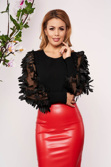 Black women`s blouse elegant tented knitted with floral details neckline short cut long sleeved