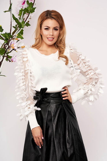 White women`s blouse elegant tented knitted with floral details neckline short cut long sleeved