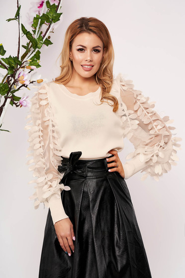 Cream women`s blouse elegant tented knitted with floral details neckline short cut long sleeved