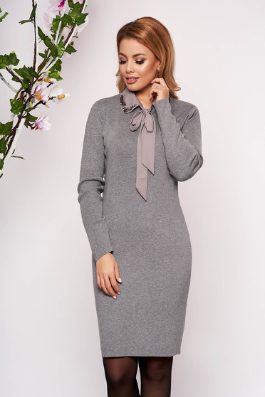 Grey dress elegant short cut knitted pencil detachable collar long sleeved neckline