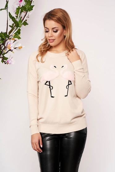 Cappuccino sweater casual short cut with easy cut knitted with faux fur details neckline