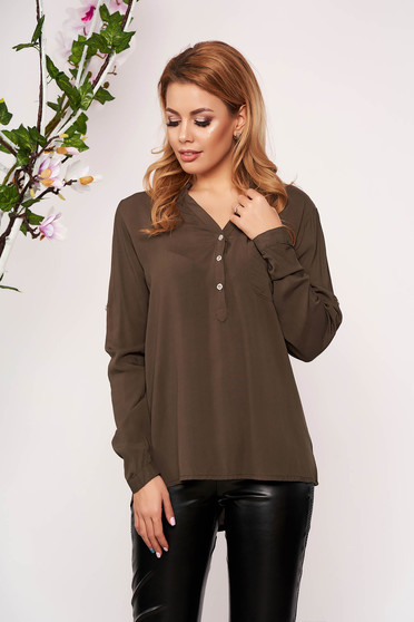 Khaki women`s shirt office short cut with v-neckline long sleeved thin fabric