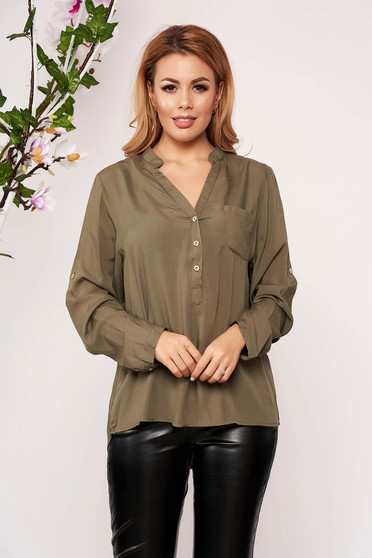 Green women`s shirt office short cut with v-neckline long sleeved thin fabric