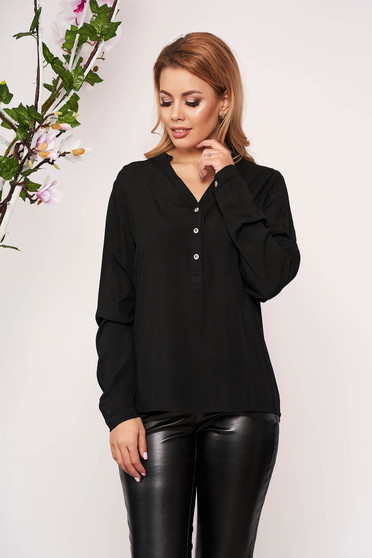 Black women`s shirt office short cut with v-neckline long sleeved thin fabric