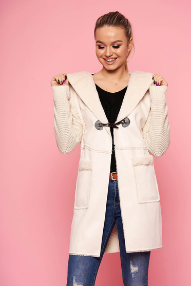 Cream cardigan casual long knitted fabric with furry hood the jacket has hood and pockets
