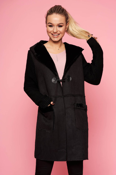 Black cardigan casual long knitted fabric with furry hood the jacket has hood and pockets