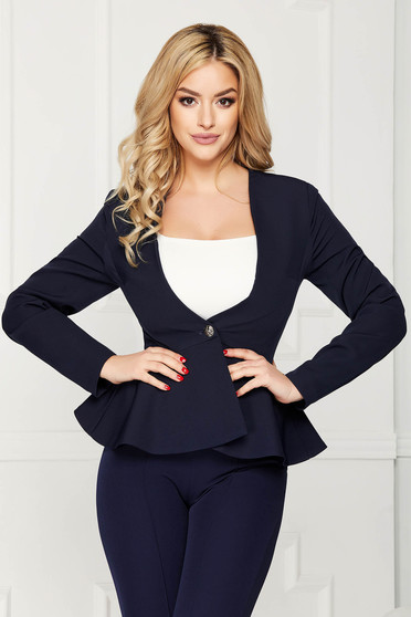 StarShinerS darkblue jacket elegant short cut cloth slightly elastic fabric long sleeved with inside lining