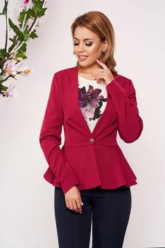 StarShinerS raspberry jacket elegant short cut cloth slightly elastic fabric long sleeved with inside lining