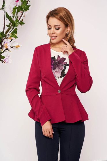 StarShinerS raspberry jacket elegant short cut cloth slightly elastic fabric long sleeved with inside lining