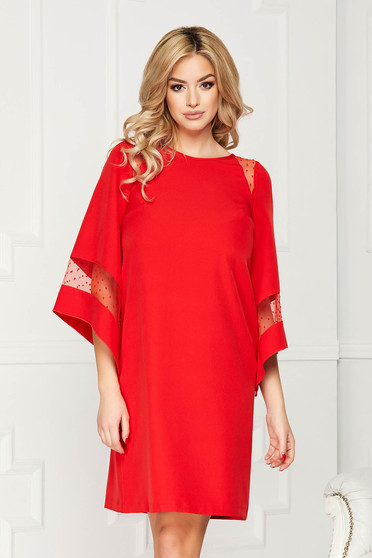 Dress StarShinerS red occasional cloth midi flared cut with inside lining bell sleeves
