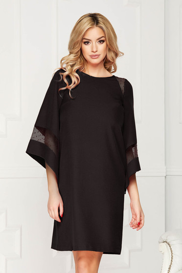 Dress StarShinerS black occasional cloth midi flared cut voile details with inside lining