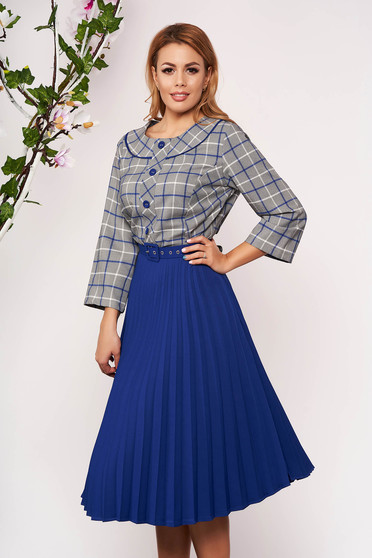 Blue dress office midi cloche pleats of material with 3/4 sleeves