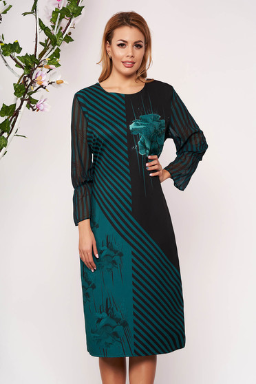 Dirty green dress elegant midi pencil cloth from veil fabric without clothing with 3/4 sleeves