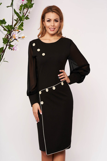 Black dress occasional cloth with veil sleeves arched cut without clothing