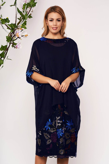 Darkblue elegant lady set with straight cut voile overlay with embroidery details