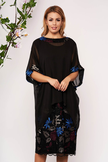Black elegant lady set with straight cut voile overlay with embroidery details
