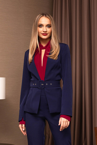 Darkblue jacket elegant blazer accessorized with a waistband short cut long sleeved arched cut